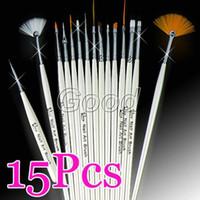 Gel Nail Brushes 15 Pcs Plastic Wholesale - - 15pcs White Nail Art Acrylic Gel Tips Design Painting Drawing Pen Polish Brush Set Kit Free Shipping
