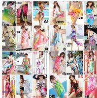 Wholesale Summer style Women Lady Veil Colorful Sarong Chiffon Beach cool Wear Swimwear Chiffon Bikini Cover Up Scarf Dress Swimsuit