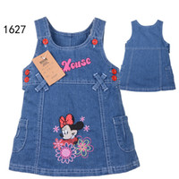 Wholesale 5 New Fashion Spring Autumn Kids Baby Girls Child Cartoon Minnie Mouse Cute Cat Love Heart Suspender Strap Denim Dress H0140424
