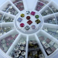 Black Round CH-MDYP Wholesale - 3MM Round Square 3D Acrylic Metal Nail Art Decoration Rhinestones Wheel Camouflage Nail Studs Cell Phone Accessories