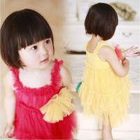 TuTu Summer A-Line Hot Sale New Childern's Dresses Wear Sweet Princess Dresses Small Girl's Lace Sundress Chest has big Lace Flowers Baby Papy Skirt