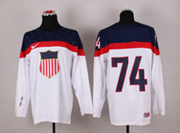 Ice Hockey Men Full 2014 Olympic USA Jersey WHITE #74 OSHIE Hockey Wears Hockey Jerseys