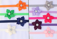 Wholesale 100pcs color Baby Girl Ribbon Flower Headbands Children Rhinestone Bow Headbands Girl Elasticity Headbands Baby Hair Accessories Headwear