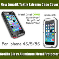 Wholesale New mental Lunatik Taktik Extreme case for iphone4S S C Aluminum Protection with Gorilla Glass Lens for Samsung Galaxy S4 Retail package