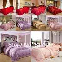 Jacquard Silk / Cotton Woven camel Brand new Jacquard bedding set SILK DUVET quilt cover set 4pcs bedspread set bed linen sets cotton King Queen size FAST