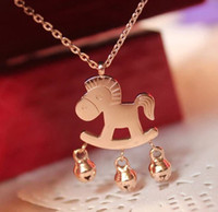 Wholesale OUTLETS Plated k Rose gold necklace small horse bell necklaces quot money immediately quot pony pendants fashion jewelry cheap jewellery CL