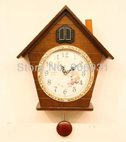 Mechanical Wall Clocks Bamboo & Wooden Fashion High Quality Wall Cuckoo Clock Timekeeping Mute Movement House Birds Wooden Clocks Home Decorative Free Shipping