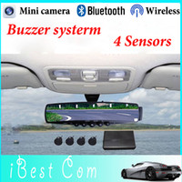 Wholesale Handsfree Bluetooth car parking sensor rear view mini camera monitor sensor buzzer system New