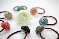Wholesale Korean version of the candy fabric bow wave point dot rabbit hair ring hair rope sweet