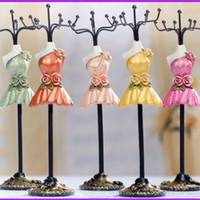 Wholesale 10 inch Painting Mannequin Earring Necklace holder organizer color charm Gift Present cheap Resin Doll Model fashion Jewelry Display stand