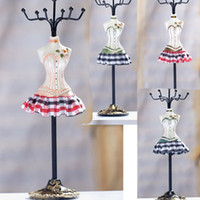 Wholesale England Mannequin quot Tall Earring Necklace holder charms Gift Present Resin Doll England plaid skirt fashion Jewelry Display stand