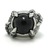 Punk Style asian skins - Mens Boys L Stainless Steel Cool Eagle Dragon Claw Snake Skin Black CZ Factory Price