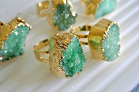 Wholesale HOT X Gold Plated Druzy Quartz Bezel Ring in Green color Jewelry Finding