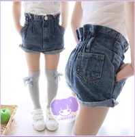 Wholesale 2014 summer new skirt like flowers children s clothing cotton denim hot pants shorts factory direct curling