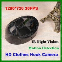 Wholesale T1 Clothes Hook Camera HD P Hanger Camera Hidden Mini DV DVR Camera IR Night Vision With Motion Detection Black White Colors