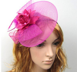 Wholesale Feather and flower Fascinator Hat with black headband wedding hairband ladies day colors for choose