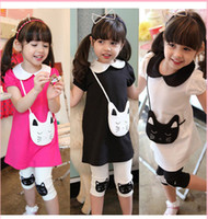 Wholesale 2014 New Summer Girls Cat dress leggings outfit Doll Collar Short Sleeve Children Cartoon Black White Fushcia Pants Kids Suits H0003