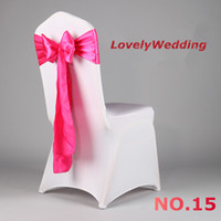 Wholesale Hot sale high quality chair sash Fuchsia satin sash for wedding decoration chair bow for cover chair spandex