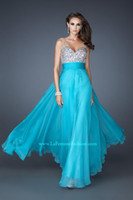 Reference Images V-Neck Chiffon SEXY Deep Vneck Sheath Beaded Crystal Prom Dresses LF 18669 Chiffon Floor Length Sequins Aqua Backless Formal Evening Graduation Dress Gown