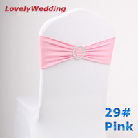 Wholesale price PINK wedding Spandex chair band with plastic buckle spandex chair sash Lycra chair band chair cover