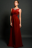 Wholesale Chic Jewel Mother Of The Bride Dresses Sleeveless Sheath Beads Sash Ruffles Chiffon Floor Length Party Dress Celebrity Gown