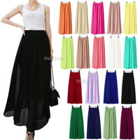 Chiffon Long  2014 New Women Chiffon Pleated Elastic Waist Double Layer Long Maxi Full Length Skirt (qx94) Free Shipping