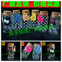 Bamboo Screen bottle 47 * 90 * 33 Heart-shaped figure , tag random hair ha 4790 special printing transparent glass bottle cork creative gifts Wishing bottle wholesale fashion wedding candy