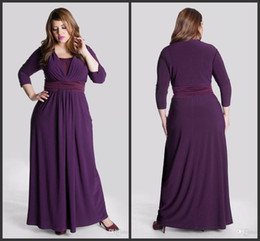 2 Tones 2019 A-Line V-Neck Ruched Sash Ankle Length 3 4 Long Sleeve Plus Size Purple Chiffon Mother of the Bride Dresses