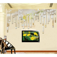 Wholesale Hot Sale New x2cm Fashion Silver D Wall Sticker Mosaic Mirror Sofa Living Room Decoration SV000567 b004