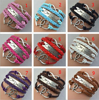 Wholesale DHL retro Antique Silver One direction band Heart Infinity Leather Bracelet charm Wristbands christmas Gift