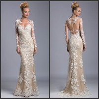 Wholesale 2016 Cheap Evening Dresses Best Sell Formal Dress Sheer Long Sleeves Floor Length Embroidery Sweetheart Champagne Mermaid Sexy Prom Dress