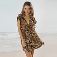 Women Swimdress Print Fashion leopard print Sexy poly chest Bikini Sets Women Beach Towel Wrap Skirt expansion skirt Sexy Design Chiffon fabric playsuits Swimwear