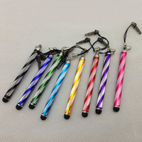 Wholesale 50pcs Rainbow Capacitive Stylus Touch Pen with Anti Dust Plug Flexible Retractable sytlus pen for iPhone Sansung HTC Nokia iPad Tablet PC