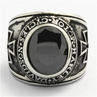 Wholesale Hot Top Quality Motorbiker Cross Crystal Ring Price L Stainless Steel New Cross Biker Ring