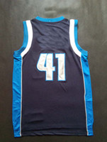 Wholesale Top Quality Revolution Swingman Basketball Jerseys Dirk Nowitzki Dark Blue Embroidery Logo Mix Order