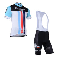 Wholesale Blue amp Red amp Black BIANCHI Men s Cycling Jerseys Compressed Quick dry bicycle bike riding short sleeve jerseys bib shorts