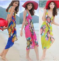 nylon chiffon - 500pcs Fashion Sexy Chiffon Wrap Pareo Dress Sarong Beach Bikini Swimwear Cover Up Scarf