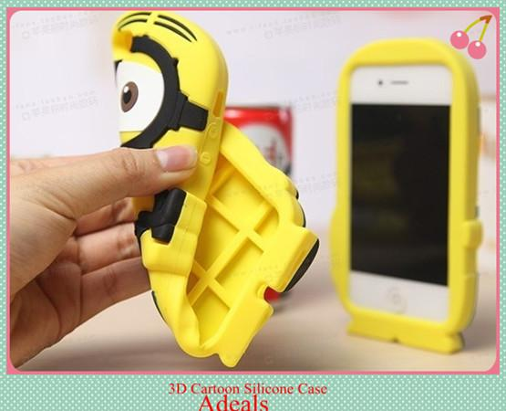 Buy iphone 4 4s 3D cases Cute Cartoon Despicable Minion Silicone Case Cover 4S 5 5g Samsung galaxy S3 S4 S5 note 3 2