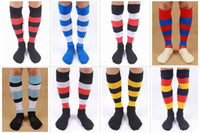 Wholesale Men s High Quality Multi Colors Striped Double Layer Sole Thiker Knee high over Knee Terry Bottom Soccer Socks Stockings Styles