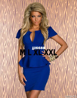Casual Dresses V_Neck Mini Top Quality Plus size M L XL XXL Women Lady Sexy Fashion U-neck OL Peplum Dress Party Bodycon Dresses Black Blue Pink White 8945