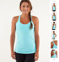 Wholesale lulu lemon Lululemon vest tank tops purple active tanks solid Lady Sport yoga Women s popular sky blue