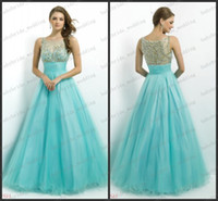 Reference Images Scoop Tulle Sheer straps prom dresses bead Aqua Gold pink by Blush 5325 Ball Gown full tulle floor lenght formal evening graduation dress Alexia 2014