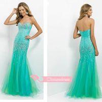 aquamarine dress - Custom Made Mermaid Prom Gown Trumpet Sweetheart Sleeveless Floor Length Zipper Tulle Rhinestones Evening Dress Aquamarine Tangerine BL9755