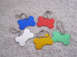 50pcs lot Creative cute bone Dog Tags Aluminum Customized Pet ID Ball Chains D504