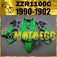 Wholesale Motoegg ABS Fairings Complete Set For Kawasaki ZZR C ZZR1100C ZZR C Green Black K11M12 Free Gifts