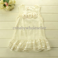Wholesale Girls Summer New Fashion T Shirt Cotton With Polyester Top With Three Flowers And Lace Hem Children Fashion Casaul Top GT40402