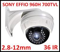al por mayor cámara de la bóveda del cctv 12mm-CCTV libre 700TVL de Sony de la seguridad de DHL o del EMS Cámara de la bóveda de Vandalproof 30pcs IR LED de Sony Effio VIP con la lente varifocal 2.8-12m m con el soporte grande