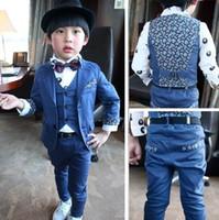 Boy Spring / Autumn 100% Cotton EMS DHL Fedex Big Boy Set Long Sleeve Gentalman Bow Tie Coat Vest Waistcoat Pants 3 Piece Sets New 2014 Kids Clothing Outfits Suits C1916