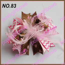 free shipping 120ps fashion boutique girl hair bow feather bows funky hair bow clips