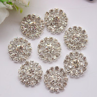 Wholesale STOCK MM metal button with clear rhinestone silver base for flower cluster hair flower wedding embellishment